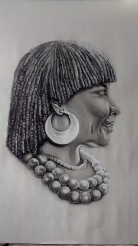 Charcoal pencil. Black and White.