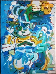 untitled. Acrylic on stretched canvas. 18 inches X 24 inches.