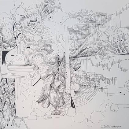 """""""Rantings of an artist."""" Ink on Acid-free paper"""