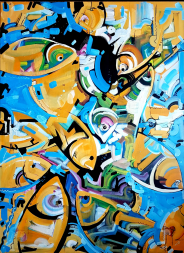 untitled. Acrylic on stretched canvas. 36 inches X 48 inches