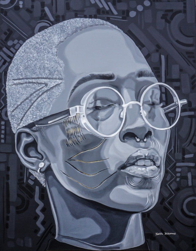 """Adetutu II"". Acrylic on stretched canvas. 36"" X 48""."