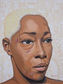 """Adetutu III"". Acrylic on stretched canvas. 36"" X 48"""