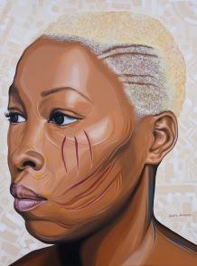 """Adetutu 1"".Acrylic on stretched canvas. 36"" X 48""."