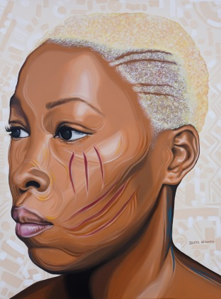 """Adetutu 1"".Acrylic on stretched canvas. 36"" X 48""."