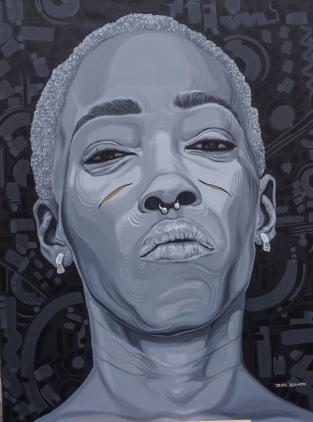 """""""Adetutu IV"""". Acrylic on canvas. 36"""" X 48""""."""