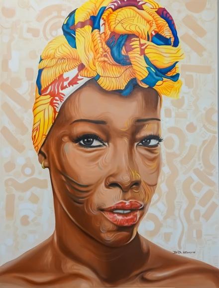 """Adetutu V"". Acrylic on stretched canvas. 36"" X 48""."