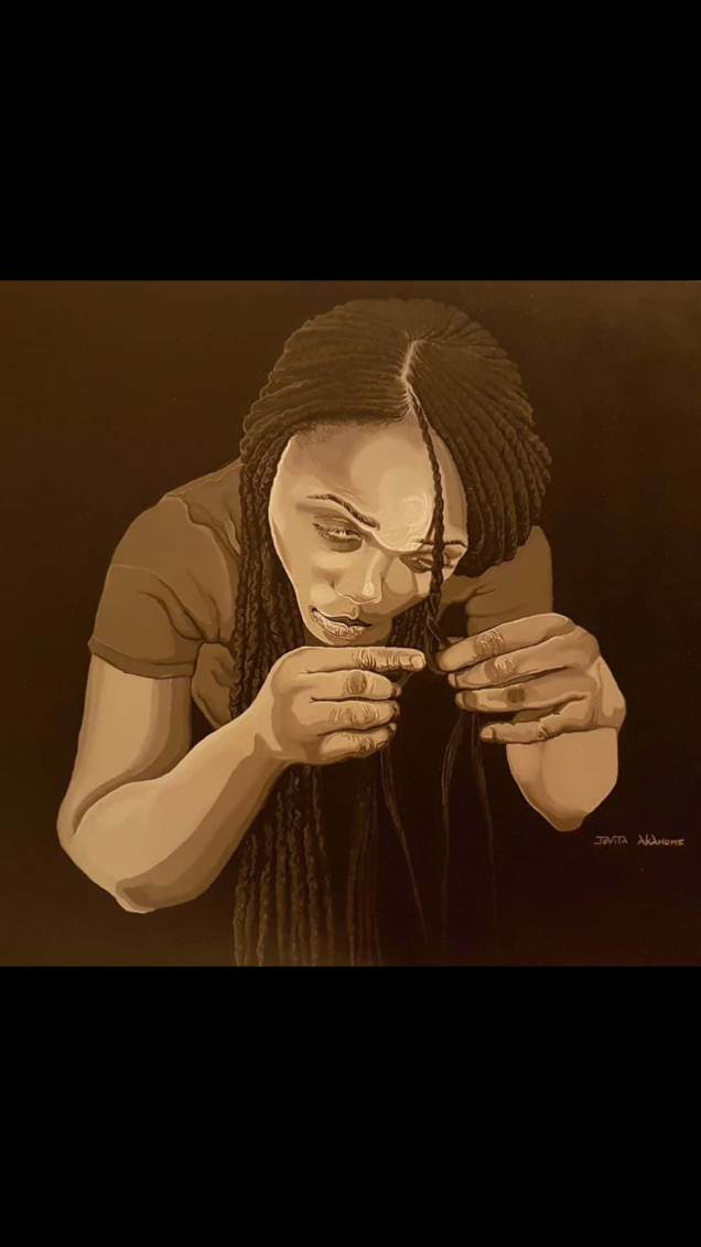 """""""Cornrows crossing."""" Acrylic on stretched Canvas. 24 inches X 36 inches."""